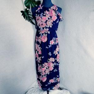 Old Navy Flutter Navy Floral Maxi Dress